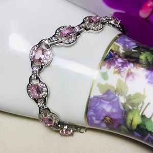 Sterling Silver.925 Pink Kunzite And CZ Bracelet